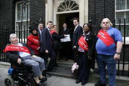 Tom with some of Sutton's Tenants delivering the petitions