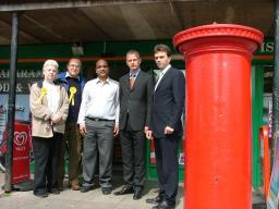 Cllrs Court and Drage, Mr Patel, Brian Paddick and Tom Brake outside Seymour Road Post Office