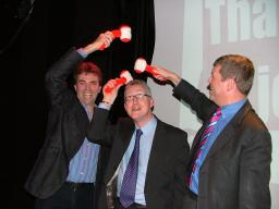 Tom Brake (left), Lembit Opik (centre) and Paul Burstow exchange blows during topical quiz!