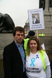 Tom Brake and Claire Burns at the Baby P rally in Trafalgar Square
