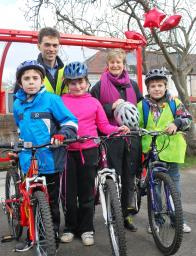Young Cyclists posing with Tom Brake