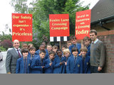 Mr Scully, Tom Brake and Year 7 boys from John Fisher School
