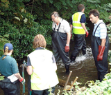 Tom at the River Wandle restoration day