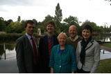 Caroline Pidgeon, with Sutton Councillors Hamish Pollock, Alan Salter and Jill Whitehead and MP for Carshalton and Wallington Tom Brake at the Carshalton Ponds