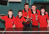 Tom with junior members of the Rosehill Table Tennis Club