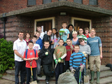 Tom (left) and Revd Kevin Lewis (right) and 9th Carshalton Scouts and their Leaders