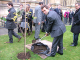 Tom Brake helps plant a tree for Her Majesty's Diamond Jubilee. ()