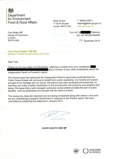 Letter from David Heath in regards to the Independent Panl of Forestry's report