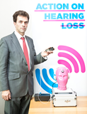 Tom Brake MP having their personal music player tested