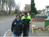 Tom Brake MP with the Guide Dogs for the Blind instructor Mel, during his blindfolded walk