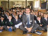 Tom with Collingwood School pupils during their morning assembly