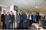 """Nick Clegg, Tom Brake and Ruth Dombey with Will Atkins, Managing Director and staff and apprentices at Tec Group International"