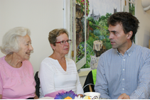 Tom Brake discussing the Save St Helier campaign with 'Friends of St Helier', Mrs Eade and Mrs Hibberd