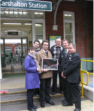 Tom Brake MP, Caroline Pidgeon AM, Cllr John Drage and local campaigners at Carshalton train station.