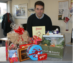 Tom Brake with some of the donations