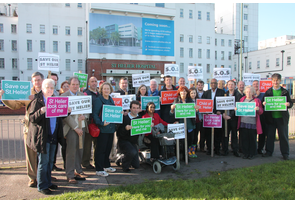 Tom Brake with local Councillors and residents campaigning to save St Helier Hospital