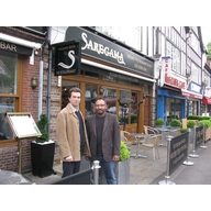 Tom Brake with the owner of Saregama, Mr Ali.