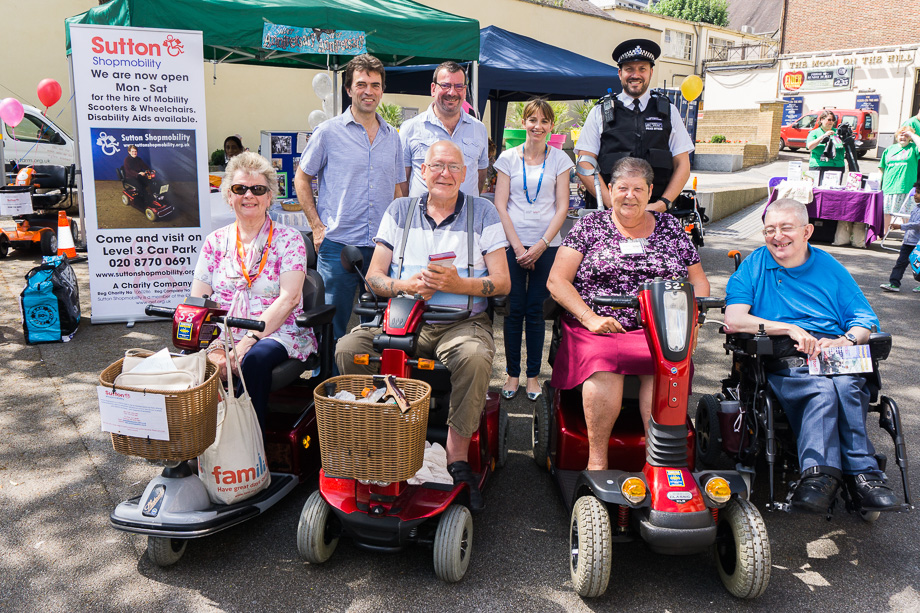 Tom takes part in 25th anniversary celebrations for Sutton Shopmobility