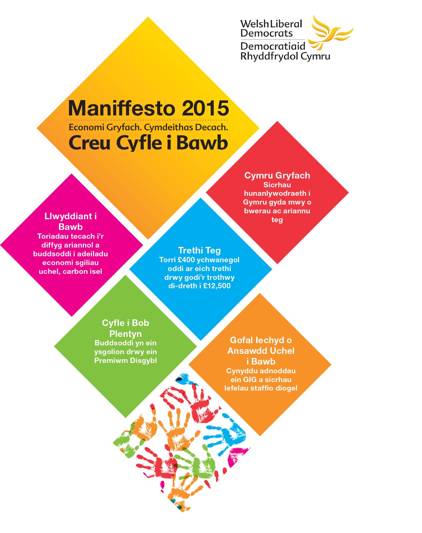 Dem Rhydd Cymru yn cyhoeddi clawr maniffesto 2015