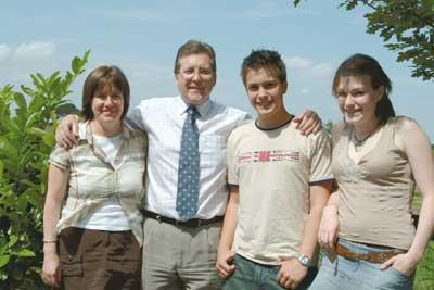Mark with wife Lesley, Robert and Francesca