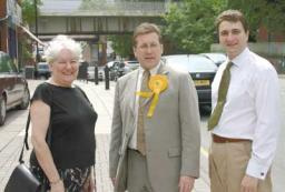 Lib Dem campaigners Cllr Suzanne Wyatt, Cllr Mark Hunter and Cllr Stuart Bodsworth