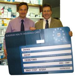 Chris Davies MEP (left) and Mark with new EHIC card