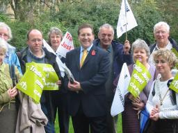 Mark meeting trade justice campaigners at Parliament