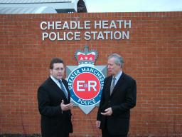 Mark and Brian at Cheadle Heath Police Station
