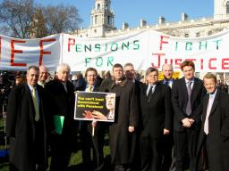 Mark Hunter and other Liberal Democrat MPs at Pensions Protest
