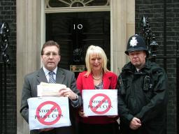 Mark Hunter and Helen Foster-Grime, handing the petition into No. 10