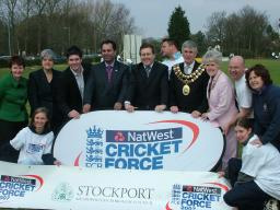 Mark Hunter MP and local Councillors supporting Cricket force at the Cheadle Hulme Cricket club