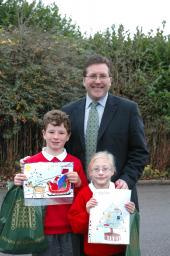 Mark with Winner Edward Wordingham and Year 4 winner Lucy Taylor - both from Prospect Vale Primary School