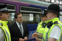 Mark with Chief Inspector Mike Sutton and two officers of the British Transport Police