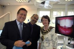 Mark with Dr Moiz Mohammed and Mayor Pam King