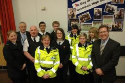 Mark with PC Karl Cummings, PCSOs and pupils from Bramhall High