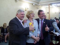 Council Leader Dave Goddard and Mark celebrating with Wendy.