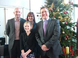 Competition winner Ruby Cockburn with parents and Mark Hunter MP