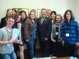 Members of Gatley Youth Centre with local MP Mark Hunter