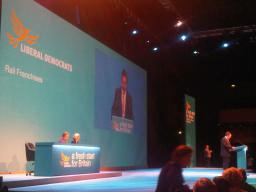 Mark speaking at Lib Dem Conference 2009
