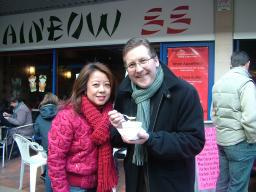 Mark with Linda Lee, manager of Rainbow 88 in Cheadle Hulme Shopping Centre