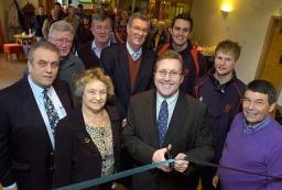 Mark alongside club members at the opening of newly refurbed Cheadle Kingsway sports clubhouse