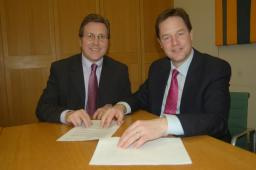 Mark alongside Deputy Prime Minister Nick Clegg