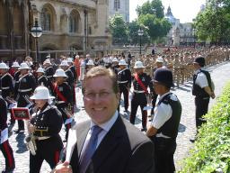 local MP Mark Hunter with troops