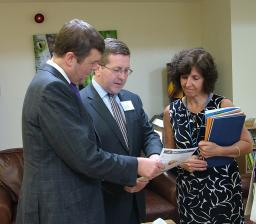 Local MP Mark Hunter at St Ann's with Care Services Minister Paul Burstow and new Chief Executive Jayne Bessant