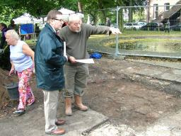 Mark at the Cheadle Green archaeological dig in Cheadle Village