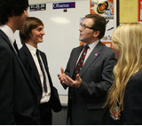 Mark Hunter MP alongside students from Cheadle Hulme High School