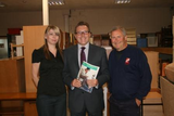 from left, Joanne Watson (Fundraiser), Mark Hunter MP and Phil Edge (Service Engineer) at The Furniture Station, Hazel Grove