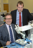 Mark alongside Starkey UK Managing Director, Roger Lewin, on his recent visit to Starkey
