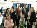 Mark Hunter MP alongside former Councillor and local Bramhall resident Helen Foster-Grime and young supporters at Friday's Fair