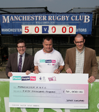 Sport England cheque Manchester Rugby Club. L-R, MP for Cheadle Mark Hunter, President of Manchester Rugby Club Ewan McCray and Ben Williams from Sport England